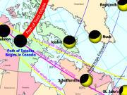 Une animation montre l'éclipse telle qu'on la voyait en Amérique du Nord
