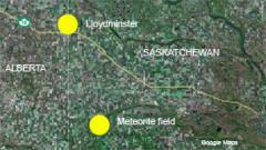 Carte indiquant où on a trouvé des fragments du météorite
