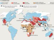 Une carte du monde axé sur les pénuries en eau