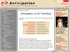 Page internet d'Anticipation 2009