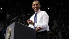 Le président Obama lors d'un discours sur la réforme de  l'assurance maladie à Fairfax, en Virginie