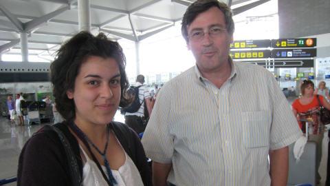 Les au revoir : Jean-Michel et moi � l'a�roport de Malaga