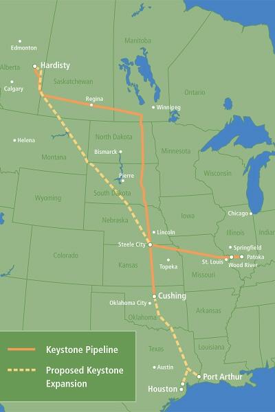 Tracé existant et tracé projeté du pipeline