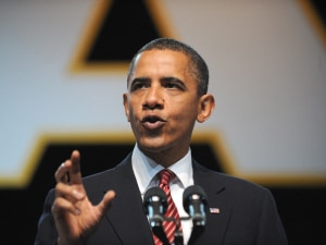 Le prsident des tats-Unis, Barack Obama, lors de son discours  Atlanta, en Gorgie