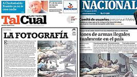 Ces journaux ont publié la photo d'une morgue de Caracas pour illustrer les chiffres catastrophiques de la criminalité au Venezuela