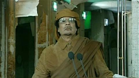 Le colonel Kadhafi lors de son discours à la nation, à Tripoli, le 22 février 2011.