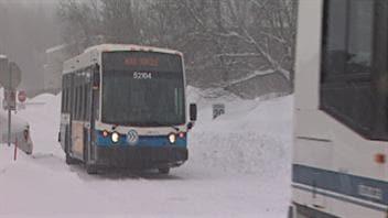 Les autobus sont retournés au garage de la STS vers 13 h.