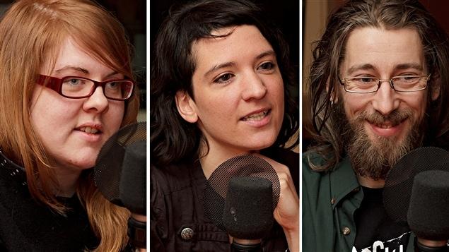 ©Radio-Canada/Christian Côté | <b> Pascale Brunet, Rozenn Potin et Marco Sylvestro, du film <i>Attention, féministes!</i></b>