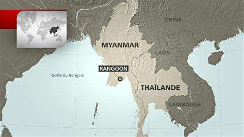 Carte de la région du Myanmar