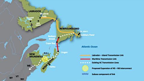 Carte du projet du bas Churchill, au Labrador