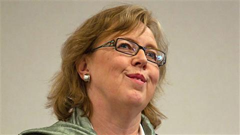 Elizabeth May, en conférence de presse à Vancouver, le 30 mars 2011