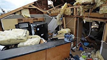 Une maison détruire par une tornade