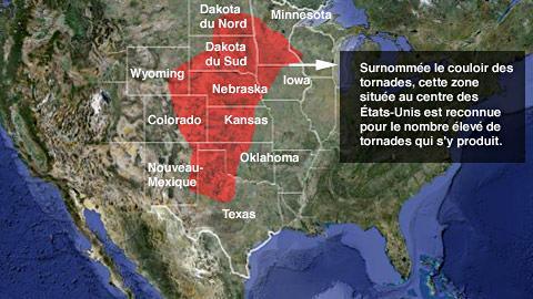 La zone rouge représente le couloir des tornades.