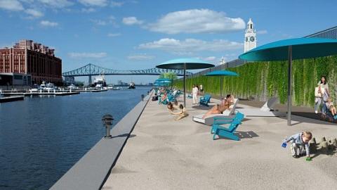 Aperçu du projet de plage urbaine au Vieux-Port de Montréal