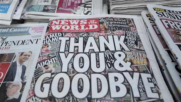 Une de la dernière édition du News of the World