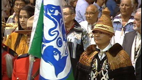 Cérémonie d'ouverture de l'assemblée annuelle des Premières Nations qui se tient à Moncton, au Nouveau-Brunswick.