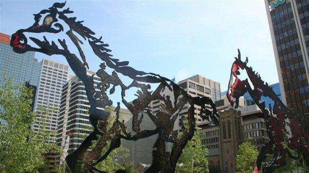 Les sculptures de Joe Fafard au centre-ville de Calgary.