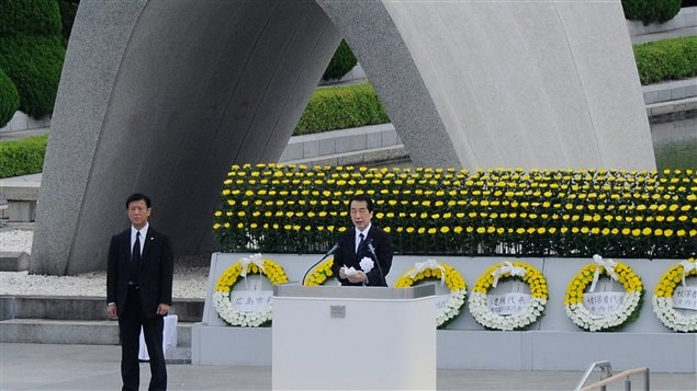 Le premier ministre japonais Natao Kan lors de la cérémonie à la mémoire des victimes d'Hiroshima