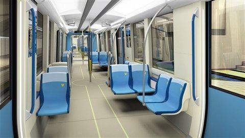 Intérieur des nouveaux wagons du métro de Montréal