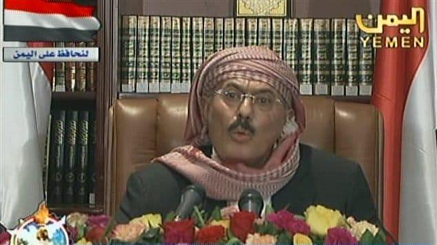 صورة للرئيس اليمني السابق الذي اغتيل اليوم علي عبد الله صالح وهو يلقي خطاباً متلفزاً عام 2011 عندما كان في السلطة.