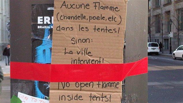Consigne sur le campement des indignés à Montréal.