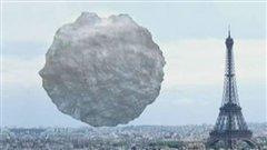 Animation présentée lors de l'émission découverte et montrant la dimension de l'astéroïde