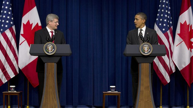 Le premier ministre canadien Stephen Harper et le prsident amricain Barack Obama,  Washington