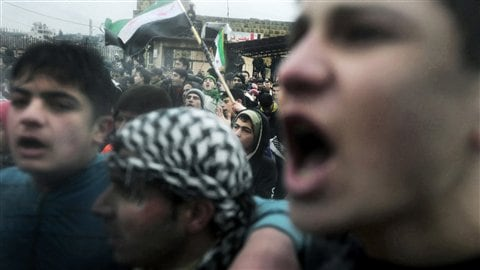 Manifestation antirégime dans le village de Kansafra, dans la province d'Idleb (9 décembre 2011)