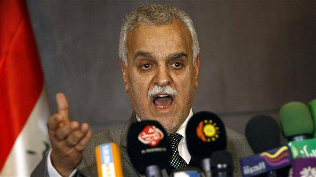 Le vice-président sunnite de l'Irak, Tarek Al-Hachémi, a donné une conférence de presse depuis Erbil, mardi.
