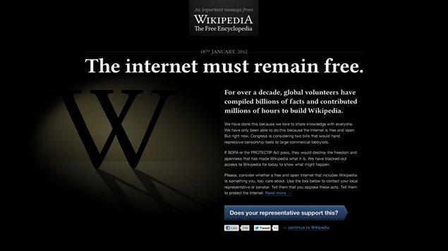 Wikipedia lors de la journée de grève sur Internet