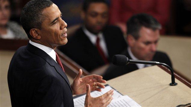 Barack Obama prononçant son discours sur l'état de l'Union.
