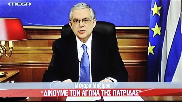 Le premier ministre grec Lucas Papademos