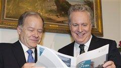Le ministe des Finances du Québec, Raymond Bachand, et le premier ministre Jean Charest.