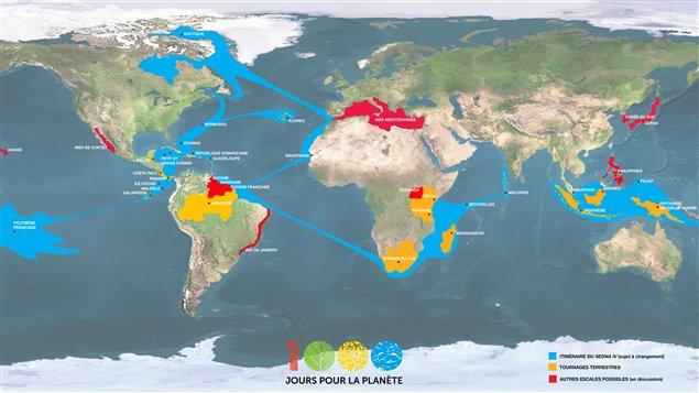 L'itinéraire prévu du Sedna