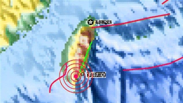 Carte de l'épicentre du séisme