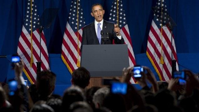 Le président américain Barack Obama devant des partisans démocrates, à New York, le 1er mars