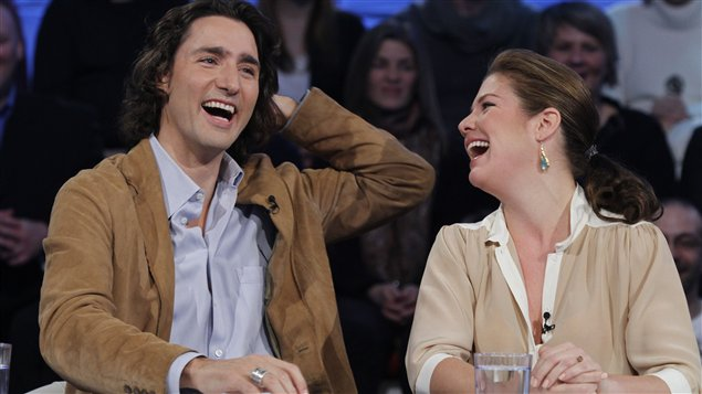 Justin Trudeau et sa femme, Sophie Grgoire,  l&#39;mission &lt;i>Tout le monde en parle&lt;/i>, le 4 mars 2012
