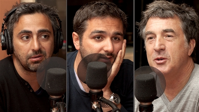 ©Radio-Canada/Christian Côté | <b>Les réalisateurs Éric Toledano et Olivier Nakache, ainsi que le comédien François Cluzet</b>
