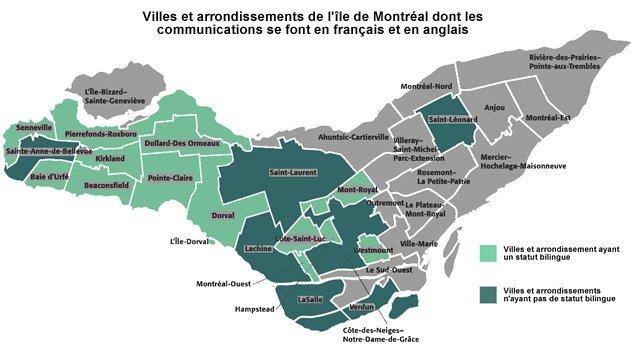 Villes et arrondissements sur l'île de Montréal dont les sites web sont bilingues.
