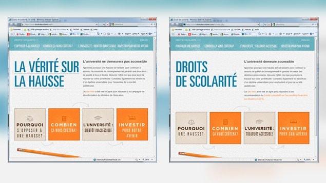 À gauche, le site fait par des étudiants reproduisant le même modèle que celui lancé par le gouvernement en novembre 2011.