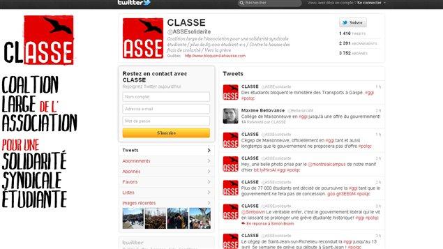 Le fil Twitter de la CLASSE