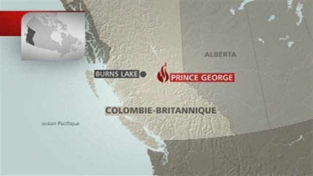 Carte Burns Lake et Prince George