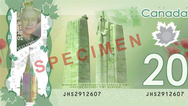 Le nouveau billet de banque de 20 dollars en polymère