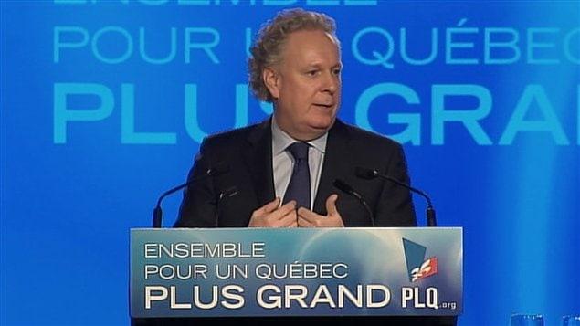 Jean Charest lors de son discours de clôture du conseil général du Parti libéral du Québec, à Victoriaville