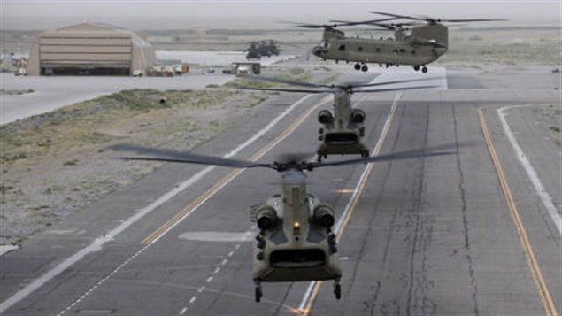 Des hlicoptres Chinook, en Afghanistan