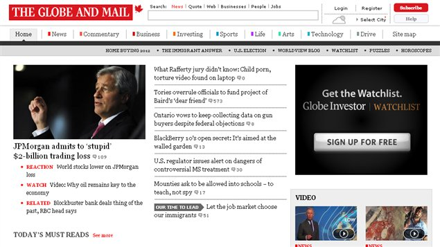 Site Internet du Globe and Mail