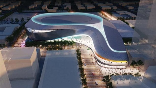 Une esquisse de l'extérieur du futur aréna du centre-ville d'Edmonton.