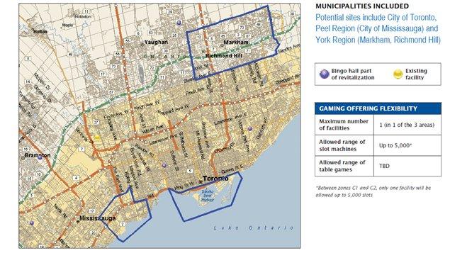 Sites potentiels pour un casino dans la région de Toronto