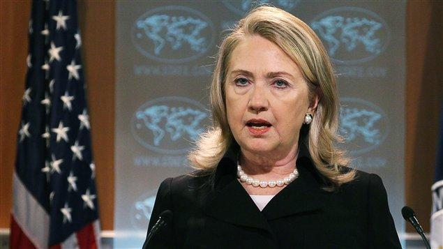 La secrétaire d'État américaine, Hillary Clinton, lors de la présentation du rapport.