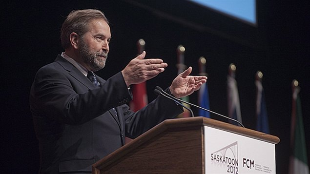 Thomas Mulcair devant la F�d�ration canadienne des municipalit�s � Saskatoon